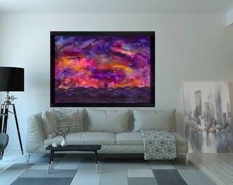 Galaxy print , space art print , abstract art , galaxy painting , nebla print , nebula home necor , galaxy wall art , galaxy watercolor