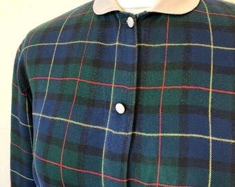 Vintage blue and green, tartan, plaid blouse, Peter Pan collar, size uk12
