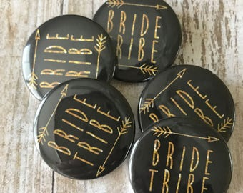"""SMALL 1.5"""" - Gold Glitter Writing! Bride Tribe, Bridal Shower, Bachelorette Party, 1.5"""" Custom Buttons - 6-Pack or 10-Pack!"""