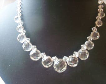 """Sparkling clear faceted crystal """"bobble"""" drops necklace"""