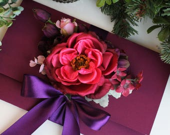 Gift card envelope, money gift envelope, wedding gift wrapping, purple wedding gift envelope, violet envelope, ticket envelope, bride gift