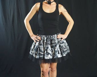 Punk rock skirt Wicked Hunted House, tulle skirt, punk skirt, gothic skirt, elastic skirt, original skirt