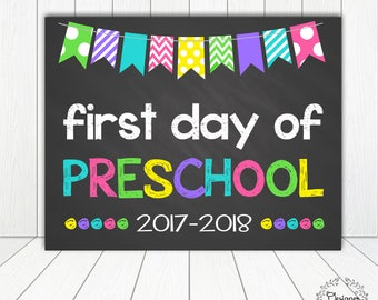 First Day of Preschool Sign Chalkboard Poster Photo Prop 11x14 Printable Instant Download Digital File