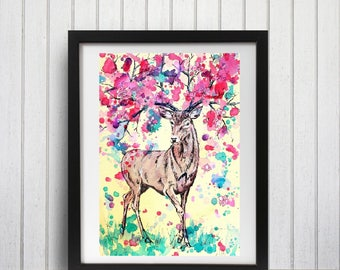 Fantasy Stag Art Print, Spring flowers, Cherry blossoms, Nursery Art, Floral antler, Wall decor