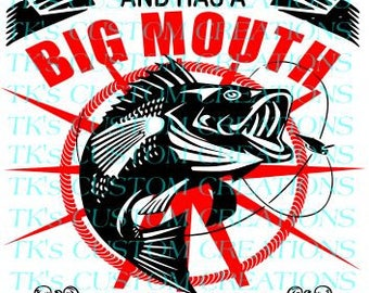 As Long As She Swallows Fishing Big Mouth, SVG File