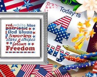 Instant download Red white blue Gift for boyfriend Cross Stitch Pattern PDF Patriotic decor American style American colors I love usa colors