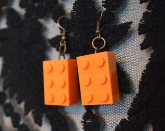 Handmade orange LEGO earrings