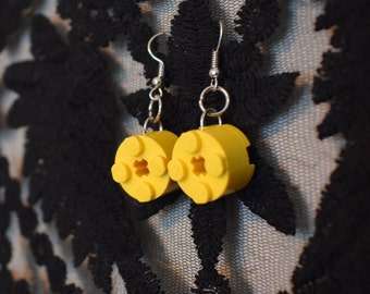 Handmade simple yellow LEGO earrings