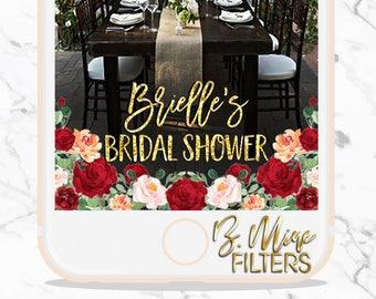 SNAPCHAT GEOFILTER WEDDING, Bridal Shower Snapchat Geofilter, Floral Snapchat Filter, Rose Snapchat Filter, Gold Foil Snapchat Filter,Custom