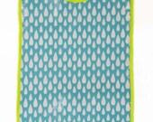 Grand bavoir élastique en coton enduit, imprimé goutte de pluie, turquoie blanc et jaune fluo, bébé enfant fille garçon