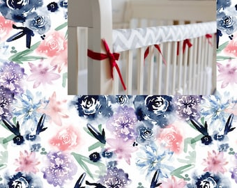 Reversible Rail Cover Floral Mint Pink Navy Crib Bedding Cotton Flowers Teething Rail Guard Cover Boy Girl Bedding Nursery Crib Guard