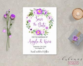Lavender Floral Wreath Save the Date Invite Printable Purple Boho Digital Lilac Wedding Date Invitation Romantic Wedding Invite - WS023