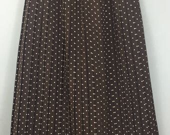 VINTAGE fabulous brown polka dots  pleated skirt XXS UK 6/8 tiny waist