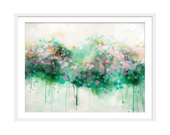 Floral Abstract Print. Abstract Art. Green Art. Abstract Painting. Spring Bloom. Abstract Floral Picture. Wall Art. Wall Decor.