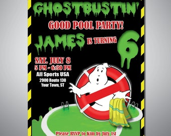 Ghostbuster Pool Party PRINTABLE Birthday Invitation