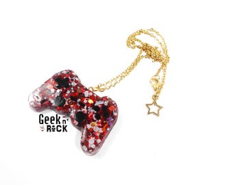 Geek necklace - game console controller video gaming life Red No.