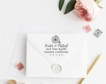 Custom Return Address Stamp, Self Ink Return Address Stamp, Personalized Address Stamp, Calligraphy Address Stamp Return Address Stamp No9