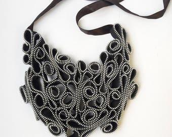 Modern bib necklace Bib necklaces Statement necklace Original necklace Zipper necklace Industrial necklace Zipper jewelry Unique necklaces