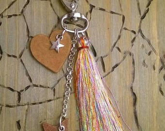 Key ring or Taschenbaumler with leather pendant and tassel