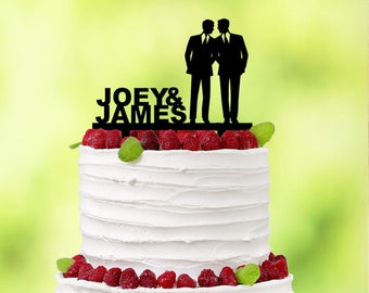 Gay Cake Topper - His and His - Gay Wedding Cake Topper Gay - Same Sex Wedding - Same Sex Cake Topper - Mr & Mr - Gay Couple - Two Men