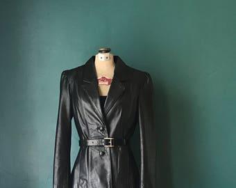 Vintage Leather Jacket. Black Leather Jacket. Leather Blazer. Vintage Blazer. Women Leather Coat. 70s Leather Blazer. Black Leather Coat
