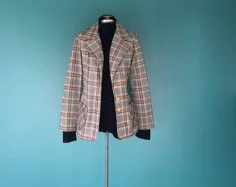 Vintage Plaid Blazer. 70s Plaid Blazer. Grey Plaid Blazer. Retro Plaid Blazer. Plaid Blazer Jacket. Vintage Plaid Jacket. 1970s Blazer
