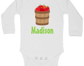 CUSTOMIZABLE Apple Onesie, Back to school outfit, Apple Orchard outfit, Fall Onesie Boy, Fall Onesie Girl, Matching siblings shirts