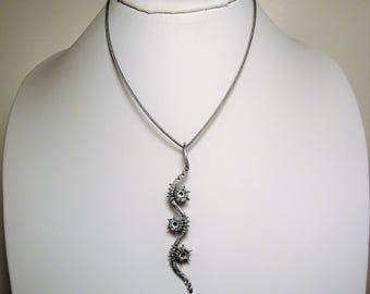 Galvanized Steel Necklace, Swarovski Crystal Pendant, Steel Rope Chain, Industrial Jewelry, Galvanized Steel Jewelry, Swarovski Crystals