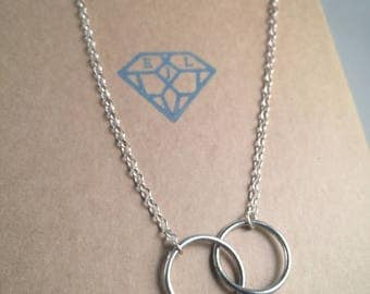 Sterling Eco Silver Interlocking Rings Pendant - Eco Jewellery, Eco Silver Necklace