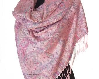 Pink Pashmina Scarf Pink Wrap Shawl Pink Shawl Wedding Pink Bridesmaids Shawl Pink Boho Shawl Oversize Lilac Scarf