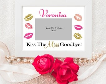 Kiss The Miss Goodbye - Framing Mat - Bachelorette Party - Bachelorette Party Games - Bridal Shower - Bachelorette Photo Mat - Personalized