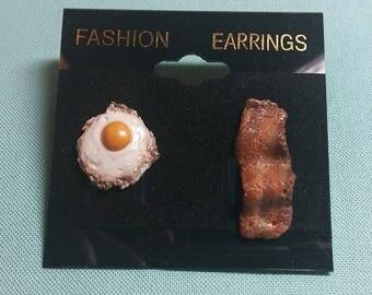 Bacon and egg polymer clay earrings,  food earrings, breakfast earrings,  nickel free studs
