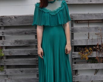 Ultra Romantic Pleated Lace 1970s Dress