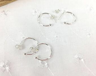 Sterling Silver Interchangeable earrings, Sterling Silver 3/4 Hoop earrings