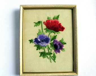 Vintage Hand Embroidered Anemones / Framed Embroidery / Floral Embroidery / Red / Blue / Purple / Green / Sweden / Bohemian / Rustic Decor