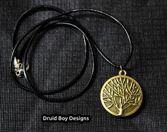 Tree of life pendant protection talisman, Druid jewellery with Ogham symbol, Leather necklace protection amulet, tree pendant druid charm