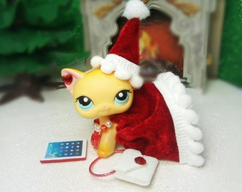 Littlest Pet Shop LPS custom outfit clothes accessories lot  LPS Santa outfit * Cat  not included *