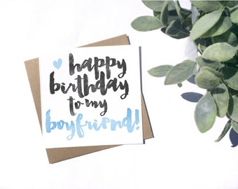 Happy Birthday to my Boyfriend Card - Birthday Card for Him