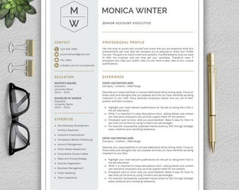 Professional and Modern Resume Template for Word | Creative Resume Design | CV Template for Word | Resume Template Instant Download