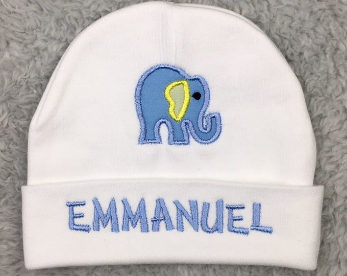 Personalized baby hat with elephant appliqué - preemie hat, micro preemie hat, NICU clothes, baby shower gift, newborn pictures, going home