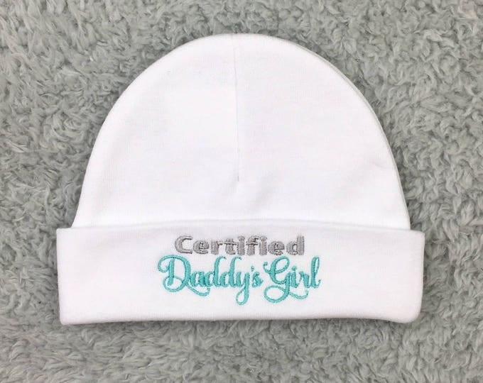 Baby girl hat - preemie baby girl hat, newborn girl hat, Certified Daddy's Girl hat, Father's Day baby gift, baby shower gift, newborn prop