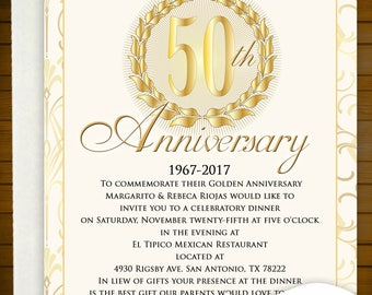 50th Anniversary Invitation (printed)