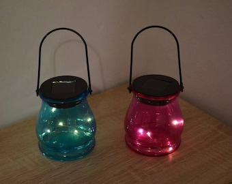 Solar led lanterns in two colors / solar lights / solar lid lights / solar garden lights / solar lantern