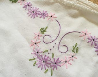 Vintage Hand Embroidered Pillow Case