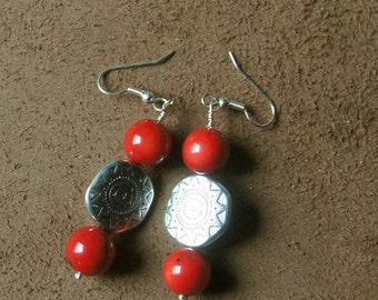 "Earrings coral plant and Tibetan bead, from the collection ""Distant Asia"", mounted on clips, hooks or Leverback"