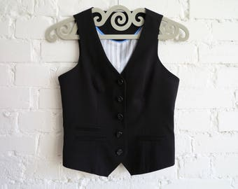 Black Womens Vest Steampunk Vest Formal Vest Fitted Waistcoat Small Size Womens Vest