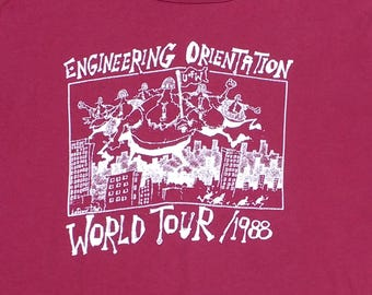 """Vintage 80's / 1988 University of Waterloo """"Engineering Orientation World Tour/88"""" double-sided Made in Canada by Penman's burgundy t-shirt"""