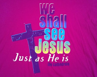 """Vintage 90's The Cathedrals """"We Shall See Jesus Just as He is"""" pink t-shirt / Made in USA / XXL"""