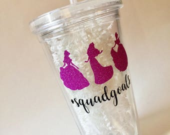 "PERSONALIZED 16 oz. Princess ""#squadgoals"" tumbler"