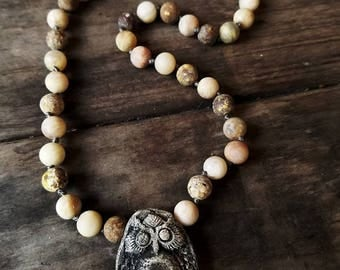 Essential Oil Owl Beaded Necklace
